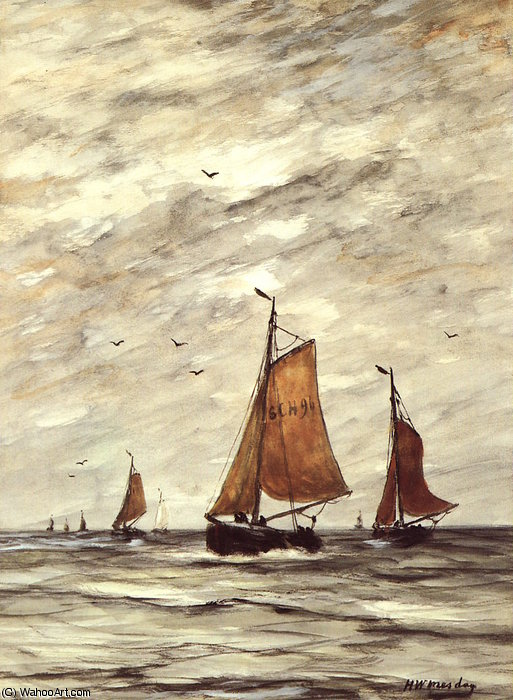 navi a mare sole  di Hendrik Willem Mesdag (1831-1915, Netherlands)