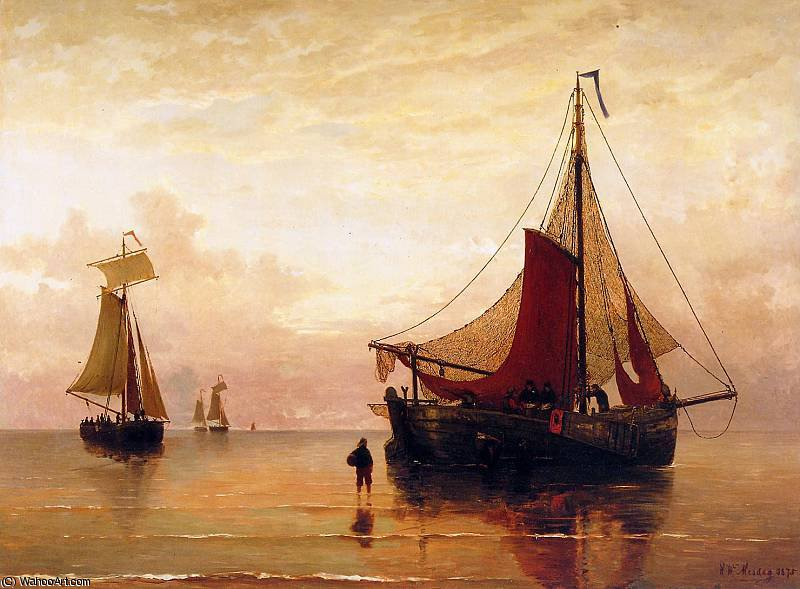 tramonto su olandese  litorale  sole  di Hendrik Willem Mesdag (1831-1915, Netherlands)
