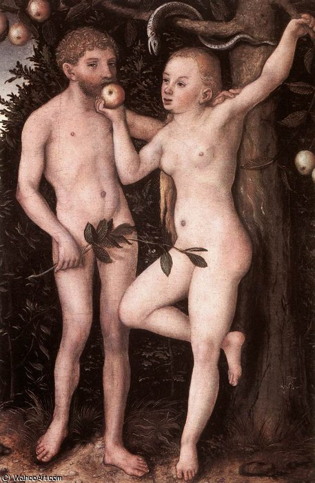 adam e vigilia, 1538 di Lucas Cranach The Elder (1472-1553, Germany)