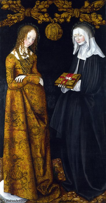 Saints Christina e Ottilia di Lucas Cranach The Elder (1472-1553, Germany)