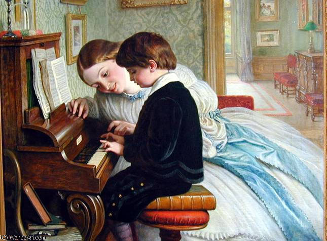 La lezione di musica di Charles West Cope (1811-1890, United Kingdom)