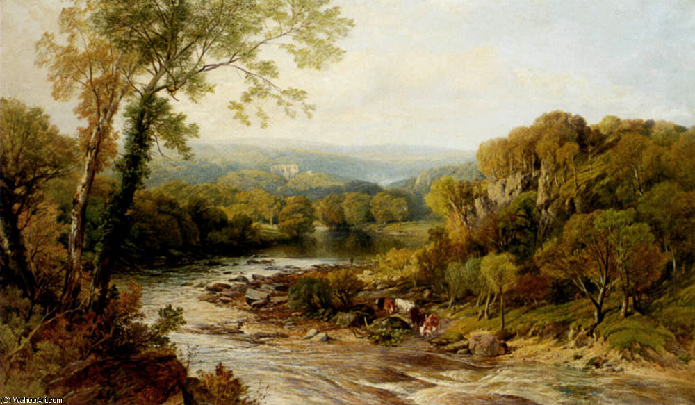Barden torre ONJ la yorkshire Wharfe di Frederick William Hulme (1816-1884, United Kingdom)
