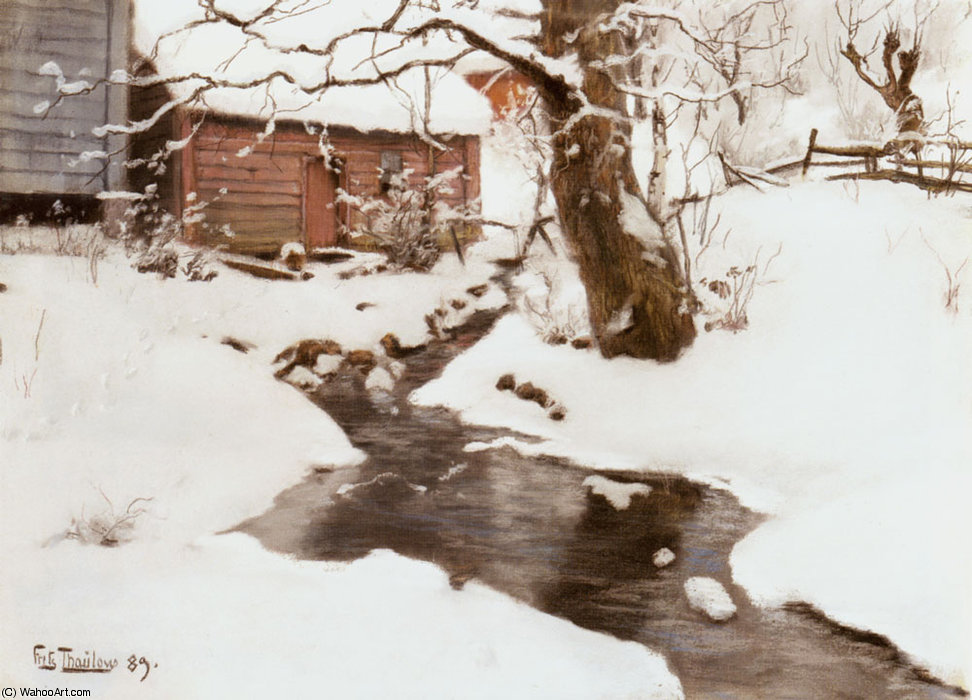 inverno sull isola di Stord di Frits Thaulow (1847-1906, Norway)