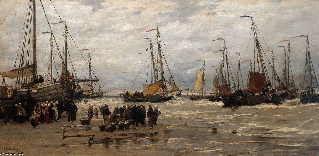 Pinks nelle Breakers di Hendrik Willem Mesdag (1831-1915, Netherlands) | Copia Pittura | ArtsDot.com