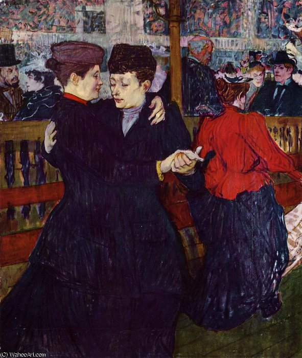 Al Moulin Rouge Due ballerini di Henri De Toulouse Lautrec (1864-1901, France)