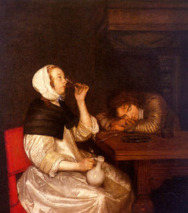 Gerard Ter Borch The Youn.. - la donna che beve con  do..