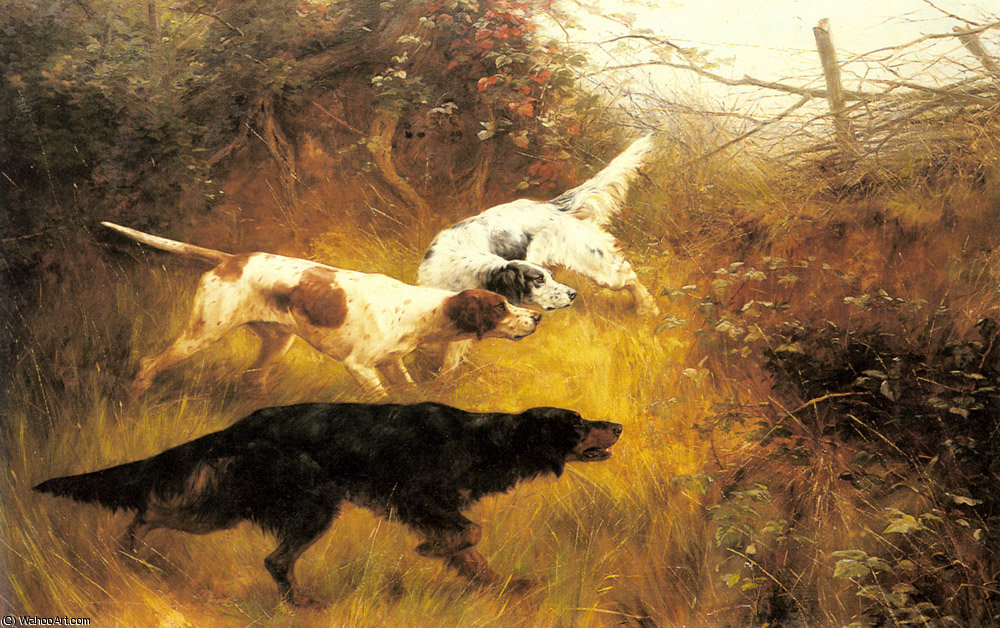 tre `pointers` in un paesaggio di Thomas Blinks (1860-1912, United Kingdom)