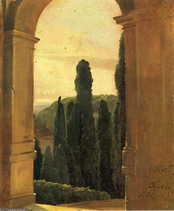 Villa d Este- di Friedrich Nerly (1808-1878, Germany)
