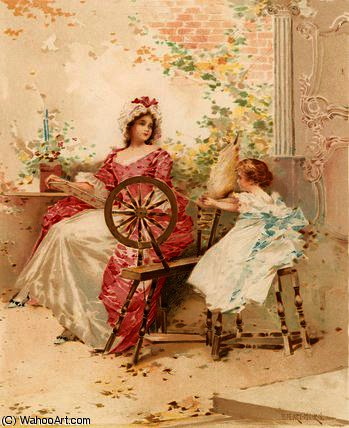 Imparare a Spin di Edward Percy Moran (1829-1901, United Kingdom)