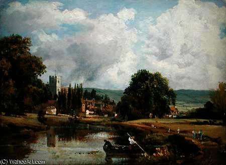 Aylesford, Kent, dal fiume Medway di Frederick Waters Watts (1800-1870, United Kingdom)