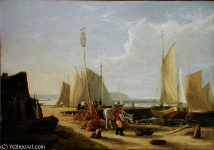Un porto scena nel isola di wight di George Vincent (1796-1831, United Kingdom)
