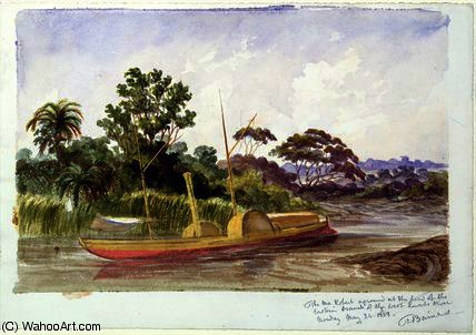 La Ma Robert , la barca di Livingstone di Thomas Baines (1820-1875, United Kingdom)