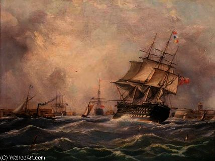 Nave da guerra britannica al largo di Portsmouth,, 1840 di Thomas Buttersworth (1768-1842, United Kingdom)
