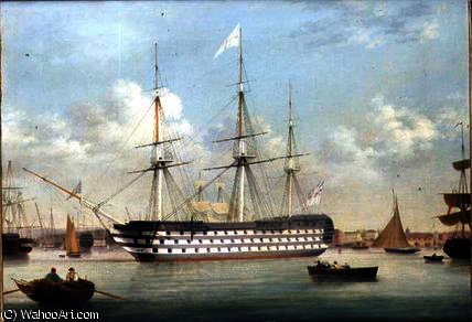 HMS Britannia situata al largo di Plymouth di Thomas Buttersworth (1768-1842, United Kingdom) | Stampe D'arte Su Tela | ArtsDot.com