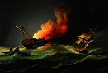 L Oriente Indiaman Kent on Fire nel Golfo di Biscaglia di Thomas Buttersworth (1768-1842, United Kingdom)