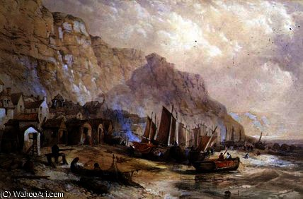 Vecchio Hastings, Sussex di Thomas Charles Leeson Rowbotham (1823-1875, United Kingdom)