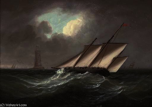 Un sbandamento lugger armata nella brezza del faro Eddystone di Thomas Buttersworth (1768-1842, United Kingdom)