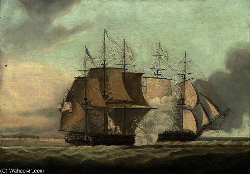 L azione tra la HMS Shannon e la USS Chesapeake di Thomas Buttersworth (1768-1842, United Kingdom)