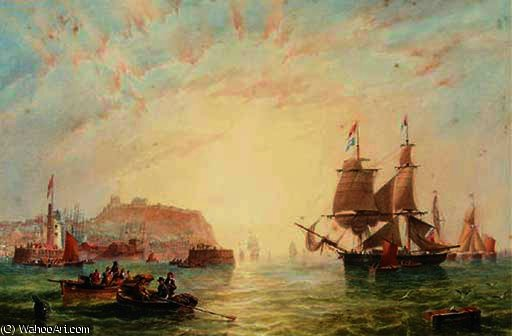 Un commercio brigantino e altri navi al largo il ingresso a scarborough di John Wilson Carmichael (1800-1868, United Kingdom)