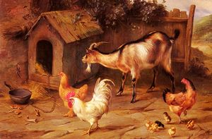 Edgar Hunt - Pulcini Fowl e capre da un can..