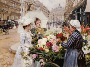 Louis Marie De Schryver - The Flower Seller Avenue ..