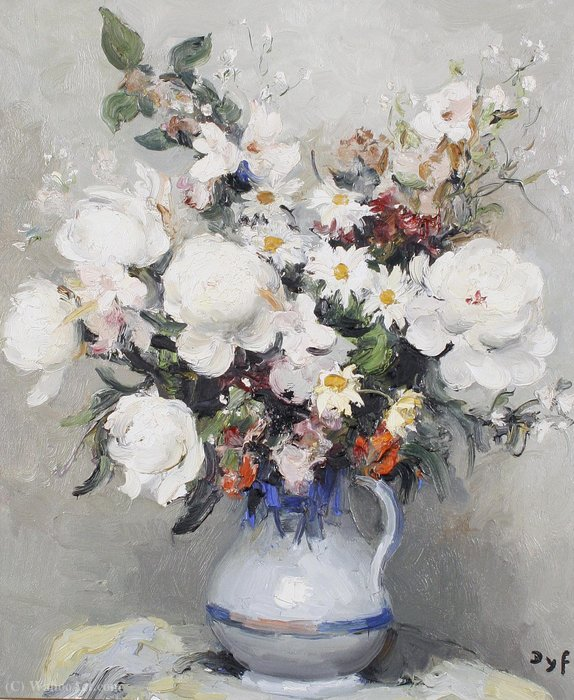 Fiori misti in una brocca di Marcel Dyf (1899-1985, France)