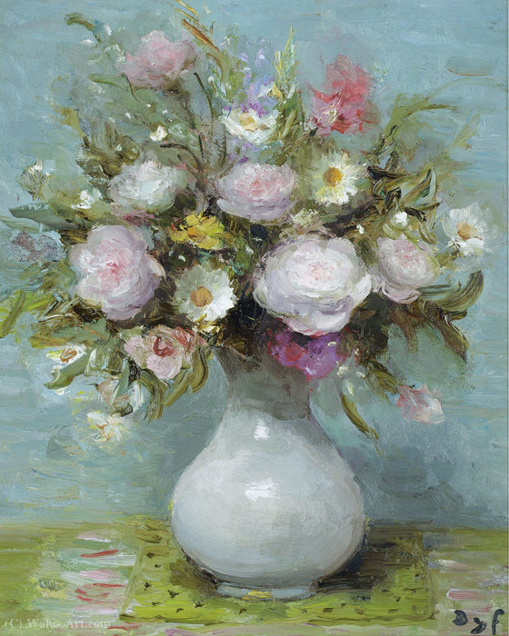 Rose in vaso opalino di Marcel Dyf (1899-1985, France)