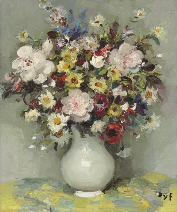 Roses, Anthemis, margherite, anemoni, Blue Iris, Snapdragon in una brocca, (1960) di Marcel Dyf (1899-1985, France)