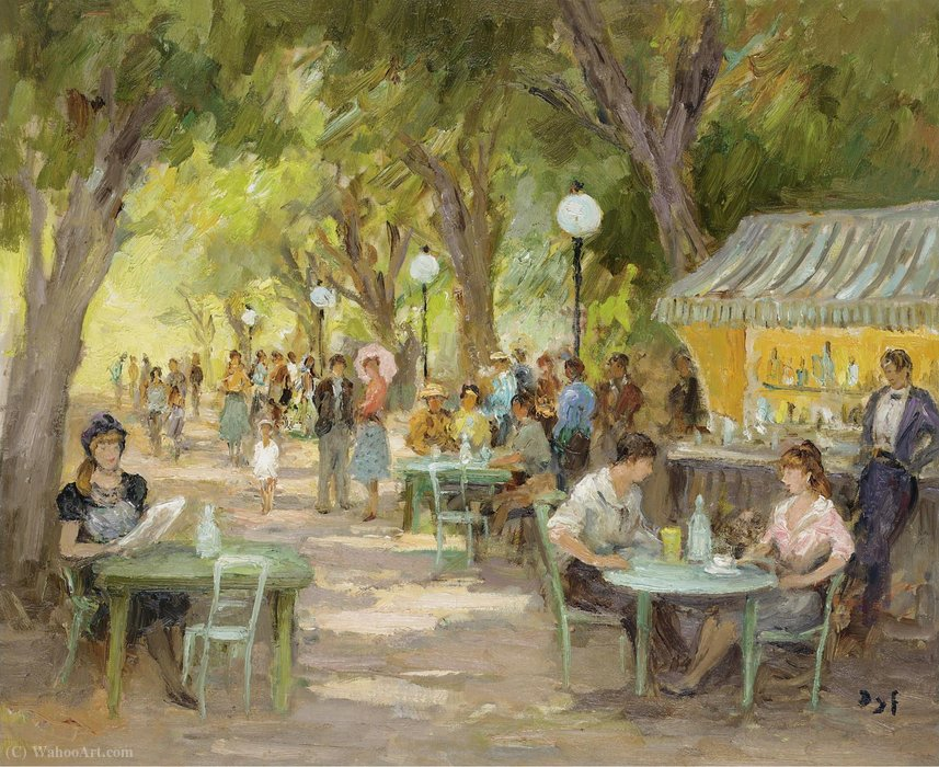 Il Cafe a Champs Elysees di Marcel Dyf (1899-1985, France)