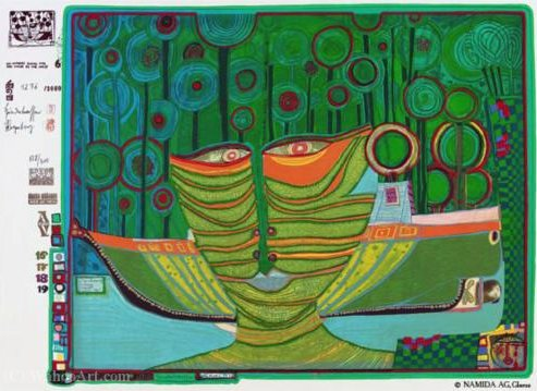 A Columbus Day Rainy in India di Friedensreich Hundertwasser (1928-2000, Austria)