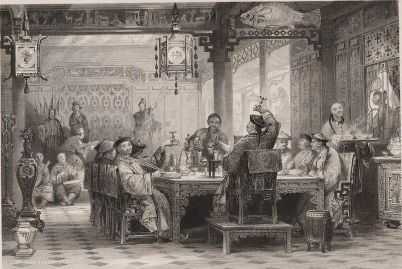 Dinner Party a casa di un Mandarin House di Thomas Allom (1804-1872, United Kingdom)