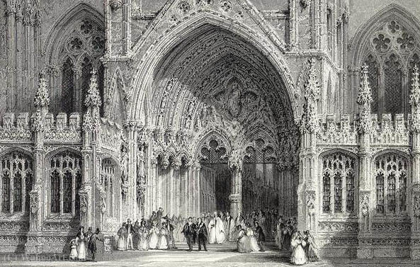 Lincoln Cathedral E.Challis Ingresso dopo una foto di Thomas Allom