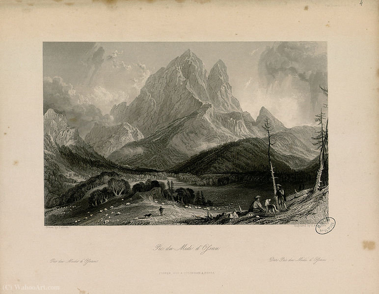 Pic du Midi d Ossau di Thomas Allom (1804-1872, United Kingdom)