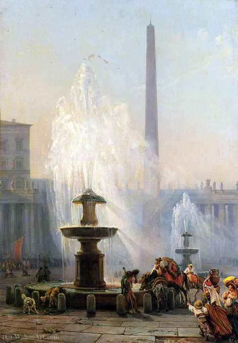 Piazza San Pietro, Roma di Friedrich Nerly (1808-1878, Germany)