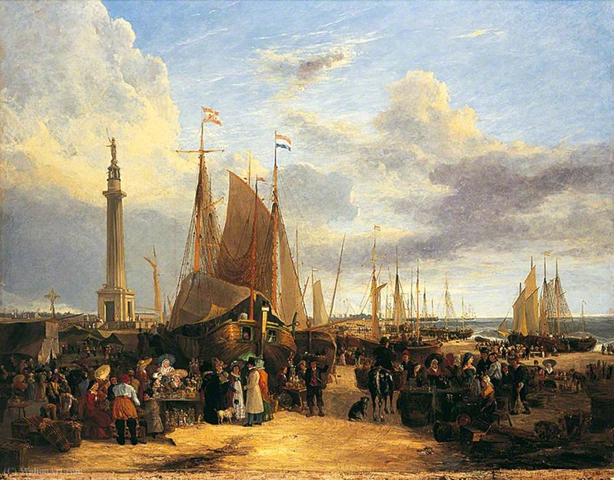 Fiera olandese su Yarmouth Beach, Norfolk di George Vincent (1796-1831, United Kingdom)