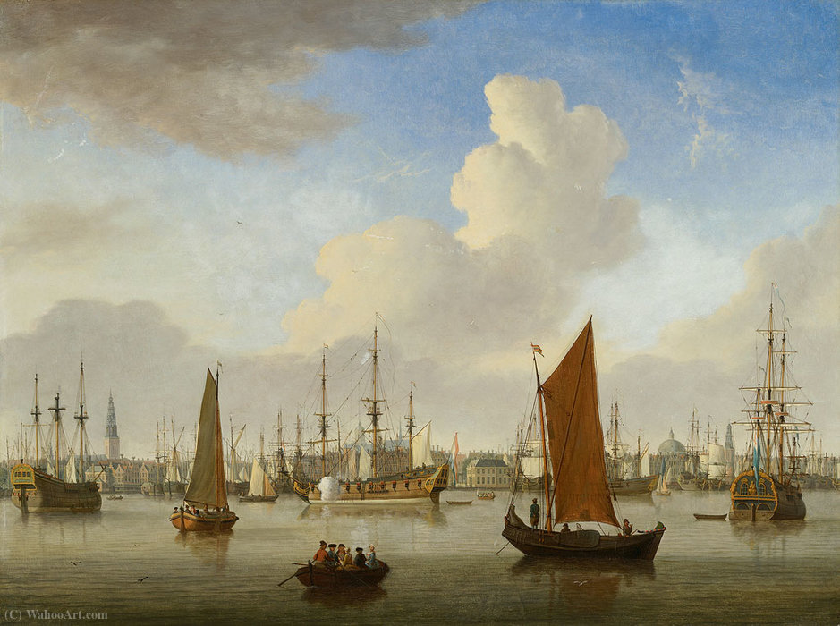 Vista del IJ e Amsterdam di Jan Ten Compe (1713-1761, Netherlands)