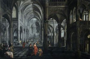 Peeter The Elder Neeffs - Interno di una cattedrale con ..