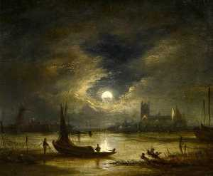 John Crome - moonlight norwich , Norfo..