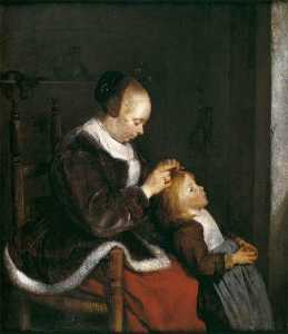 Gerard Ter Borch The Youn.. - Un Madre pettinare i cape..