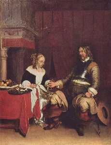 Gerard Ter Borch The Youn.. - il gallant soldato