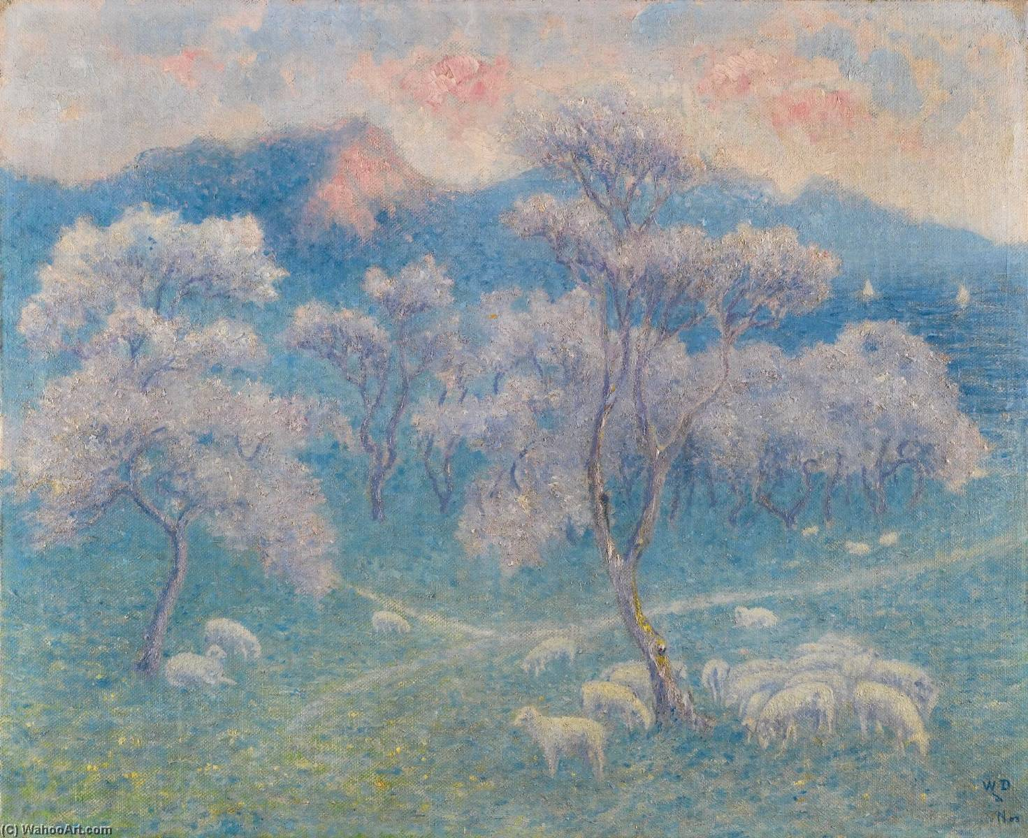 Moutons aux amandiers di William Degouve De Nuncques (1867-1935) | Riproduzioni Di Belle Arti William Degouve De Nuncques | ArtsDot.com