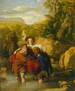 William Mulready The Younger - la ford ( -Crossing il Ford- )