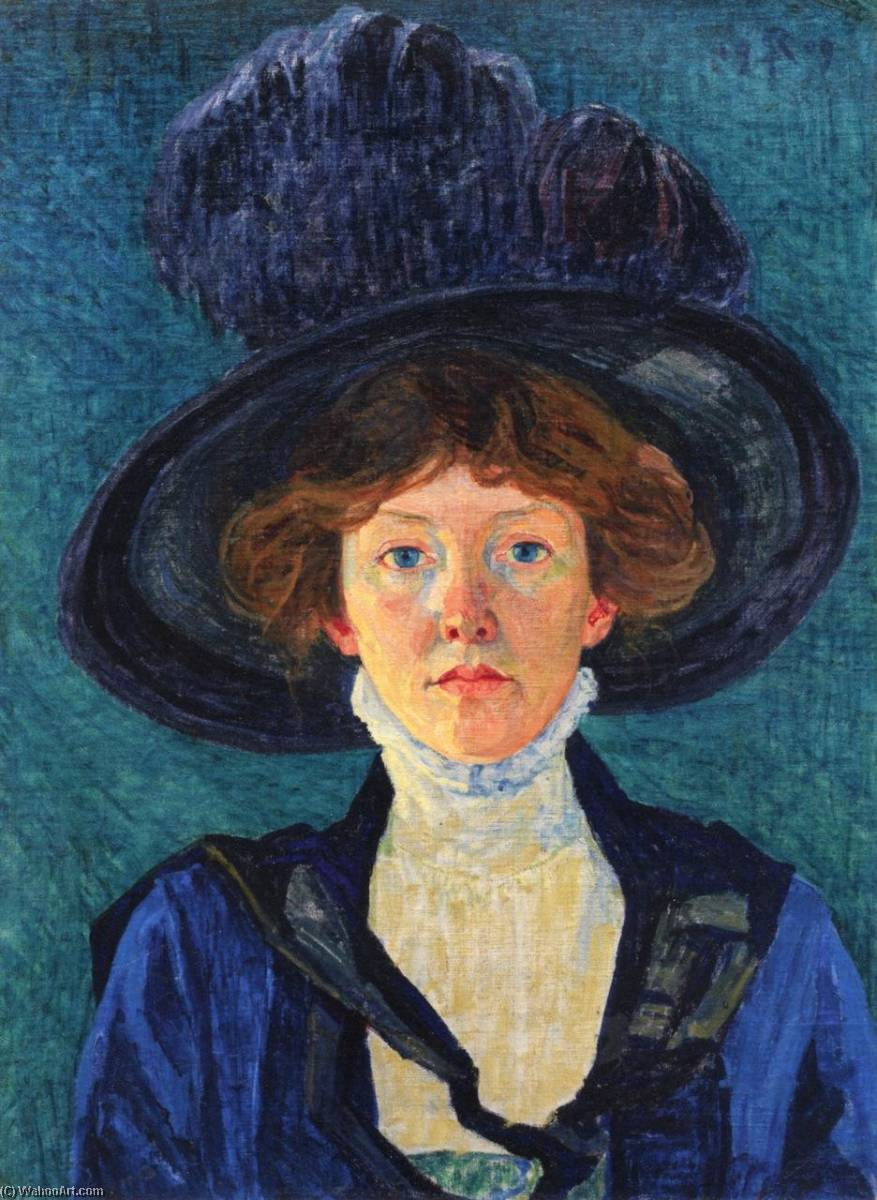 signora con cappello, 1909 di Sigismund Righini | Copia Pittura | ArtsDot.com
