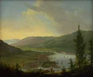 Christian August Lorentze.. - Vista verso Drammen , Nor..